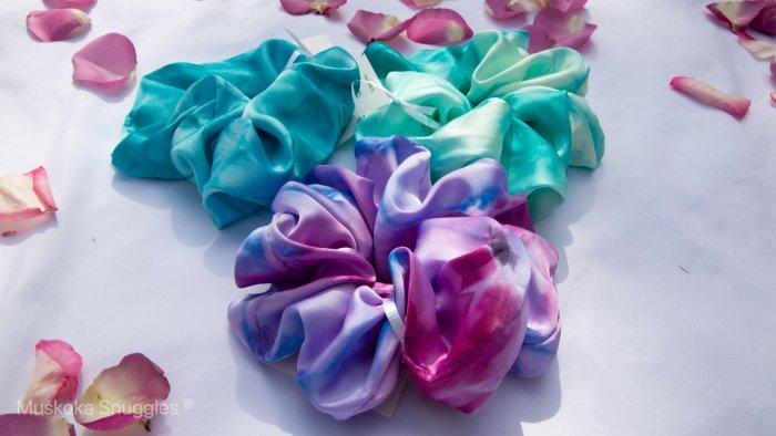 Scrunchies, handmade, hair accessories, Muskoka made, Muskoka artist, Muskoka
